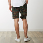 Slant Zipper Accent Sweatshorts // Camo (L)