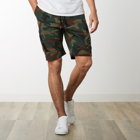 Slant Zipper Accent Sweatshorts // Camo (S)