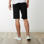 Two-Tone Zipper Sweatshorts // Black (M)