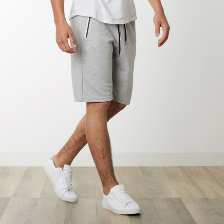 Two-Tone Zipper Sweatshorts // Heather Gray (S)