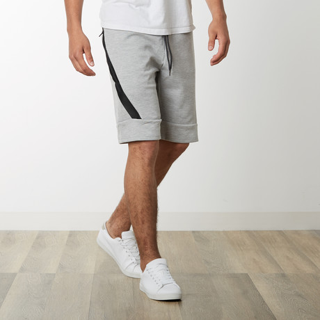 Slant Zipper Accent Sweatshorts // Heather Gray (S)