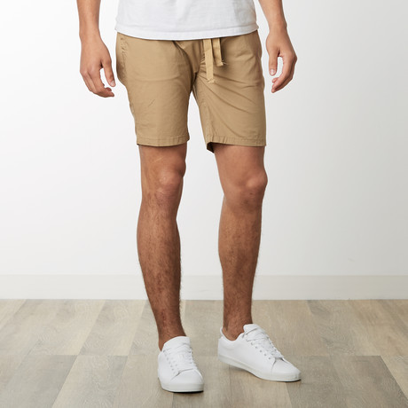 Cotton Stretch Casual Drawstring Shorts // Khaki (S)