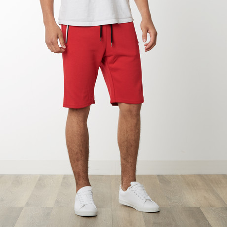 Two-Tone Zipper Sweatshorts // Red (S)