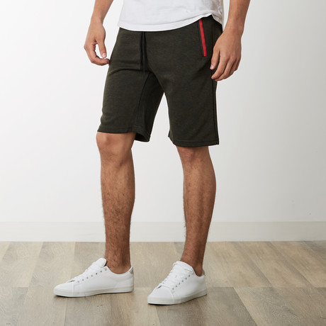 Two-Tone Zipper Sweatshorts // Olive (S)