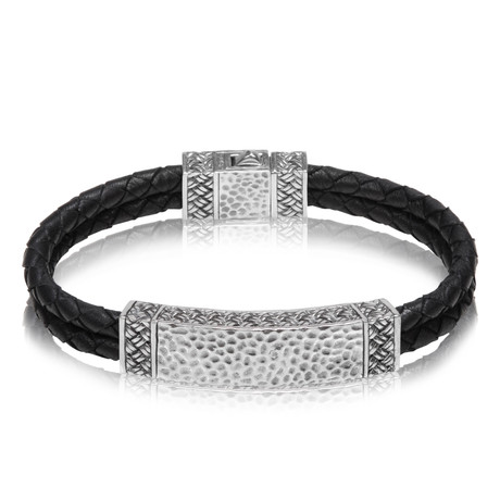 "Double Row Leather ID Bracelet (Small // 7.5"")"