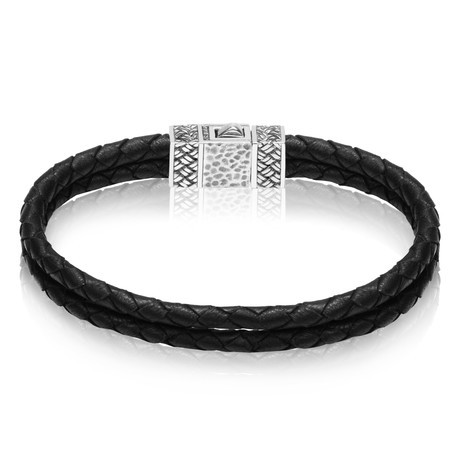 "Black Leather Duo Bracelet (Small // 7.5"")"