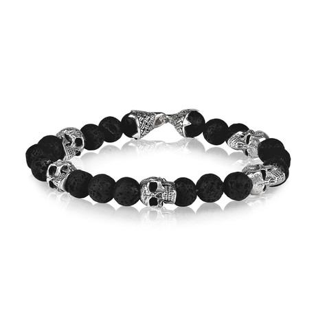 "Lava Bead Skull Bracelet // 8mm (Small // 7.5"")"