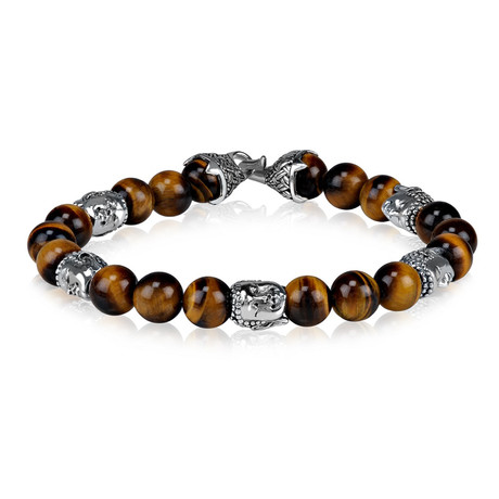 "Tiger Eye Bead Buddha Bracelet // 8mm (Small // 7.5"")"