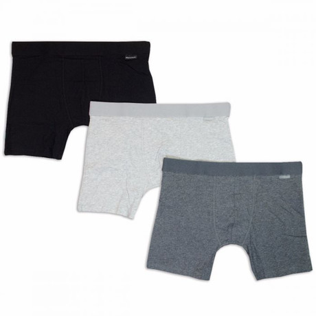 Mens Cotton Boxer Brief // 3-Pack // Black Gray