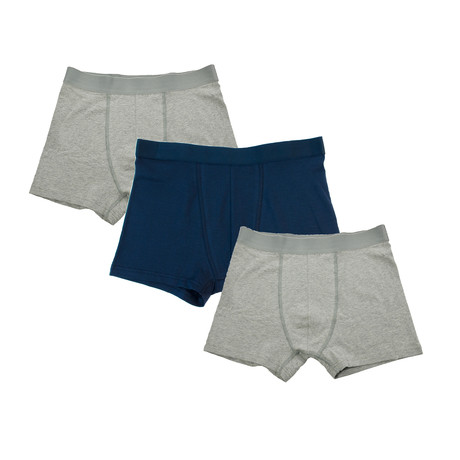 Mens Boxer Brief // 3-Pack // Gray + Blue