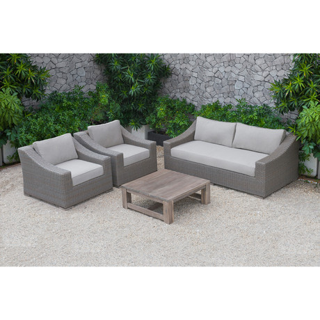 Renava // Palisades Outdoor Beige Wicker Sofa Set