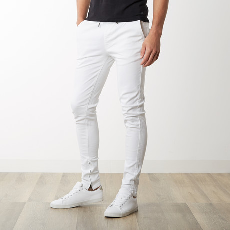 Rich V. 4 Joggers w/ Ankle Zip in White