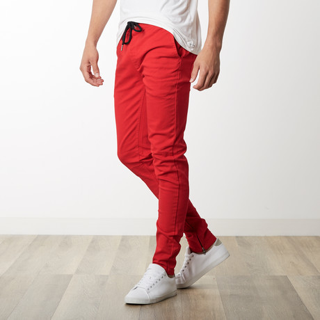 Rich V. 4 Joggers w/ Ankle Zip in Red