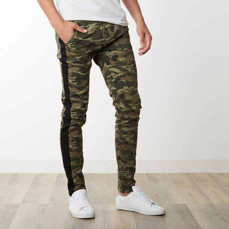 Striped Camo Ankle Zip Pants in Olive Camo