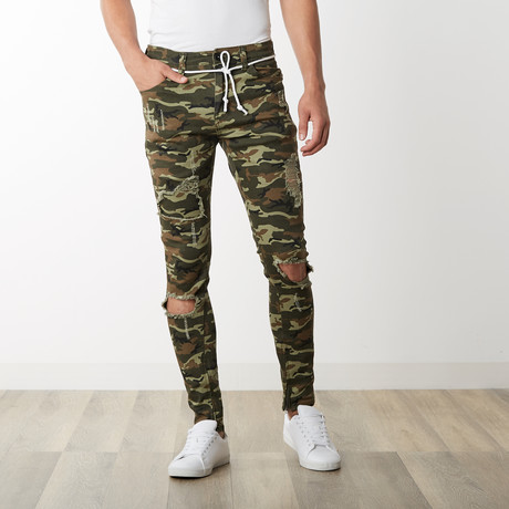 Distressed Camo Ankle Zip Pants in Light Olive