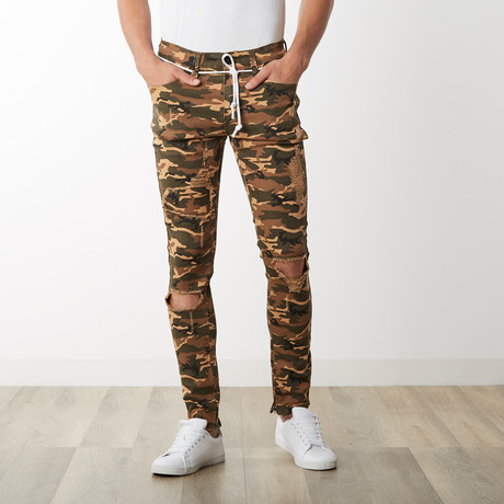 Distressed Camo Ankle Zip Pants // Camel (30WX32L)