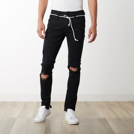 Distressed Ankle Zip Pants