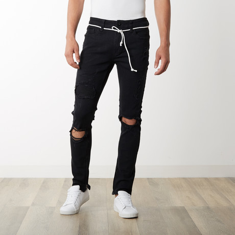 Distressed Ankle Zip Pants // Black (30WX32L)