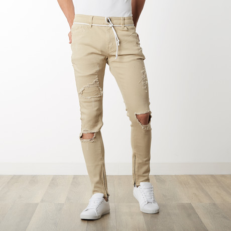 Distressed Ankle Zip Pants // Khaki (30WX32L)