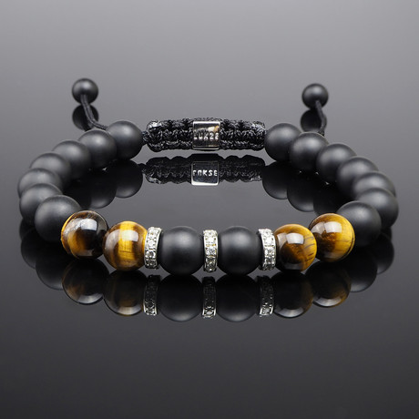 Yellow Tiger's Eye + Diamond Bracelet (Small)