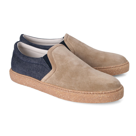 Vittore Contrast Denim Slip-On // Blue + Tan