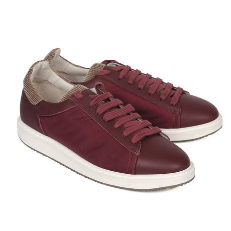 Oscar Leather Sneaker // Burgundy + Brown