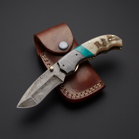 Turquoise + Sheep Horn Folding Knife