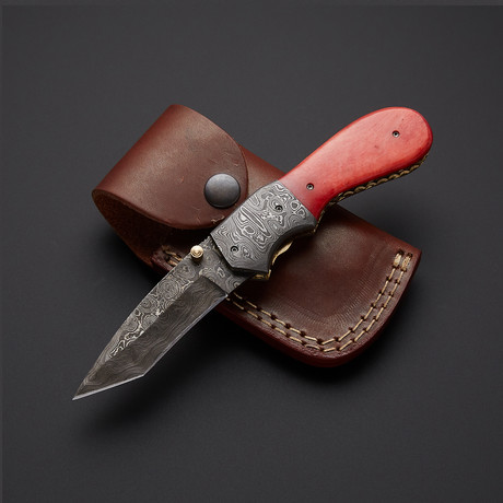 Red Bone Tanto Folding Knife