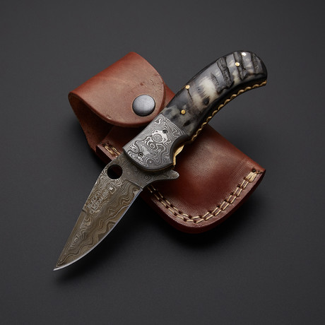 Sheep Horn Folding Knife