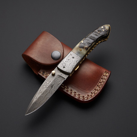 Sheep Horn Folding Hunter Knife