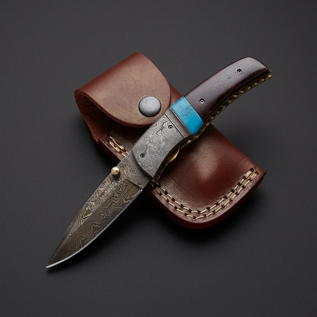 Autumn-Bone Turquoise Folding Knife
