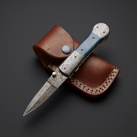 Blue Bone Stiletto Dagger Folding Knife