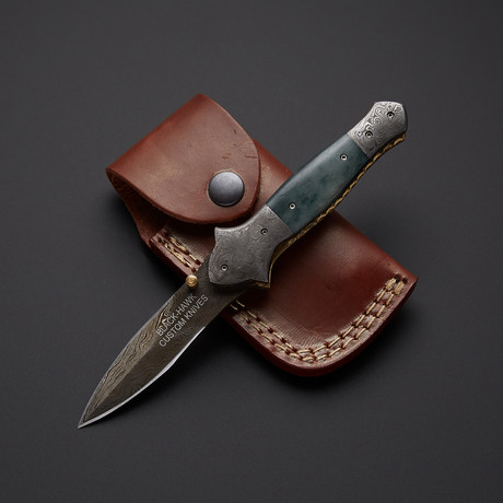 Jade Bone Stiletto Dagger Folding Knife