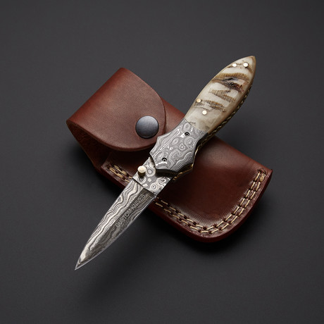 Sheep Horn Folding Stiletto Dagger Knife