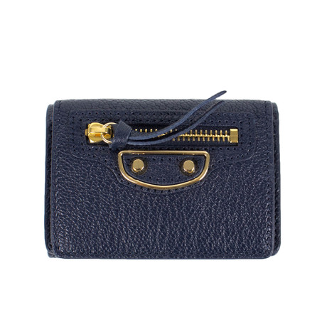 Pebbled Metallic Mini Bi-Fold Wallet // Blue