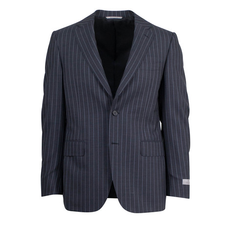 Striped Wool 2 Button Suit // Black (US: 46S)