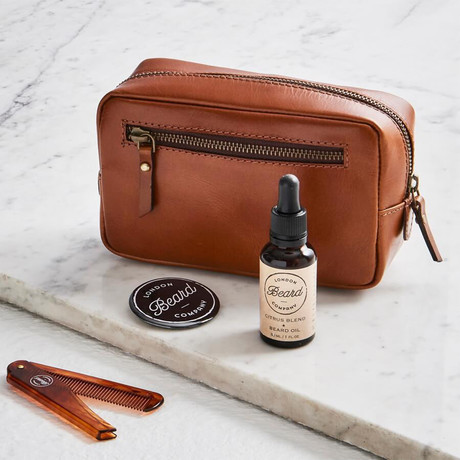 Leather Beard Grooming Bag + Deluxe Beard Grooming Products // Dark Tan