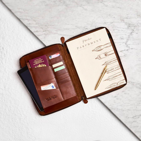 Tan Leather A4 Document Holder // Tan