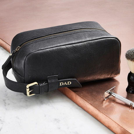 Men's Leather Wash Bag + Buckle // Black (Black)