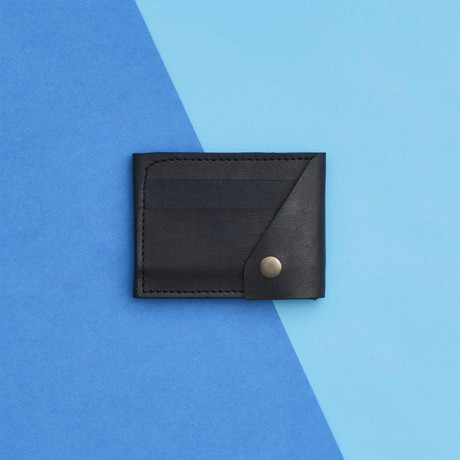 Leather Popper Credit Card Wallet // Black (Black)