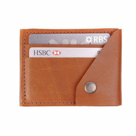 Leather Popper Credit Card Wallet // Dark Tan (Dark Tan)