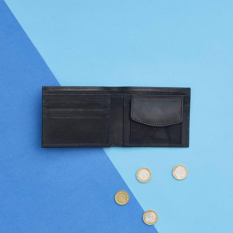 Leather Wallet + Coin Section // Black (Black)