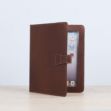 Leather iPad Cover + Stand // Dark Tan (Dark Tan)