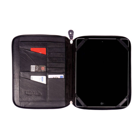 Leather iPad Case Organizer // Black (Black)