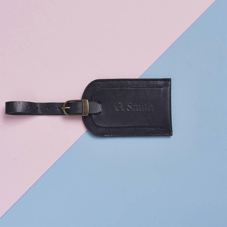 Leather Luggage Tag // Black (Black)