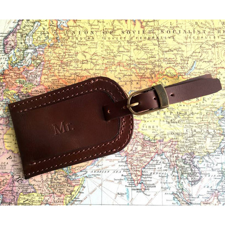 Leather Luggage Tag // Dark Brown (Dark Brown)
