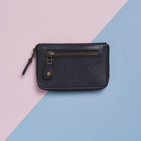 Leather Zip-Up Purse // Black (Black)