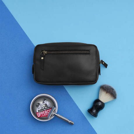 Leather Shaving Kit Bag // Black (Black)