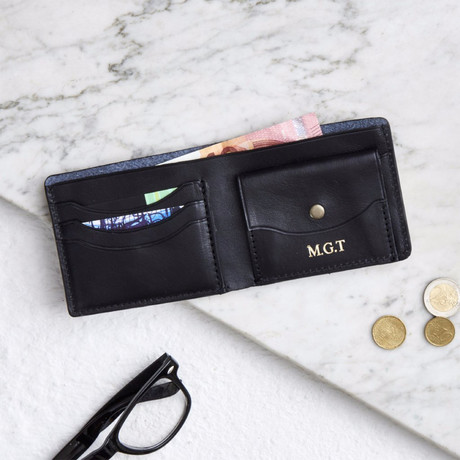 Raw Leather Wallet + Coin Section // Black (Black)