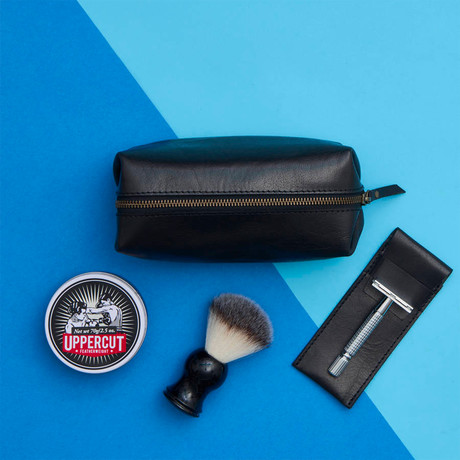 Leather Shaving Bag and Razor Cover // Black (Black)